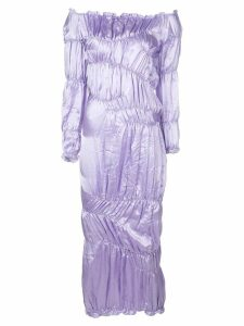 yuhan wang ruched satin dress - Purple
