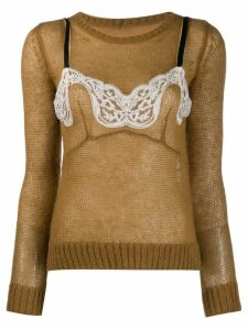 Nº21 two-layer knitted sweater - Brown