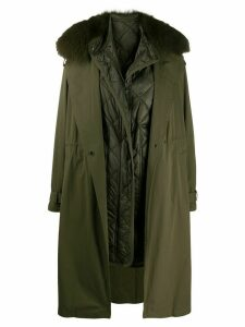 Yves Salomon Army faux fur trim parka coat - Green