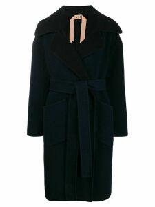 Nº21 belted oversized coat - Blue