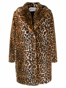 be blumarine faux faux leopard print coat - Brown