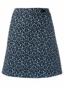 be blumarine a-line leopard print skirt - Blue