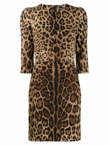 Dolce & Gabbana leopard print dress - Brown