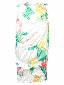 yuhan wang rose print ruched skirt - White