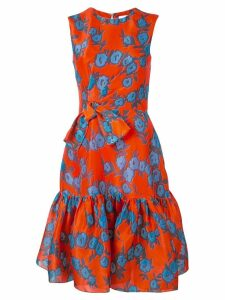 Carolina Herrera ruffled floral print silk dress - Red