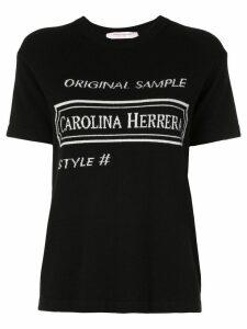 Carolina Herrera intarsia logo T-shirt - Black