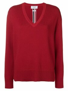 Thom Browne Intarsia Stripe Boxy V-Neck Pullover - Red