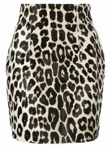 16Arlington leopard print leather skirt - Brown