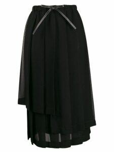 Loewe asymmetric pleated skirt - Black