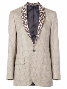 R13 leopard print lapel blazer - Brown