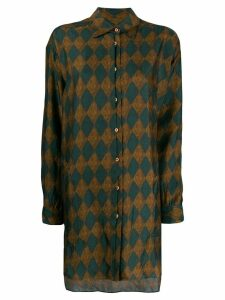 Uma Wang diamond print longline shirt - Green