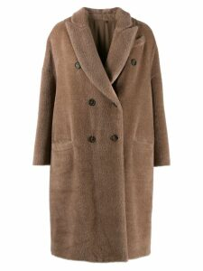 Brunello Cucinelli double breasted fur coat - Brown
