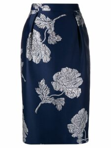 Alexander McQueen floral jacquard pencil skirt - Blue