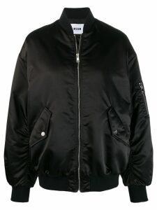 MSGM embroidered logo puffer jacket - Black