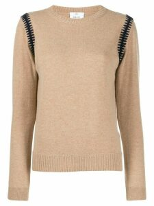 Allude embroidered shoulder jumper - Neutrals