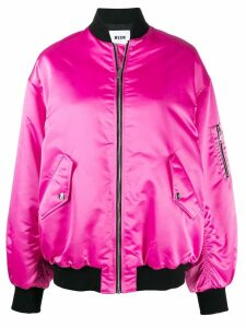 MSGM embroidered bomber jacket - Pink