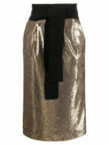 P.A.R.O.S.H. sequin pencil skirt - Gold