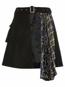 Blindness asymmetric pleated skirt - Black