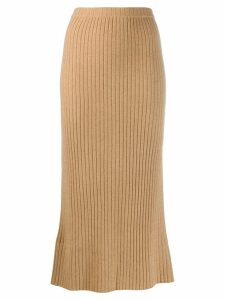 Allude cashmere straight line skirt - Neutrals