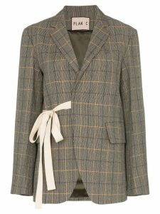 Plan C ribbon check blazer - Brown