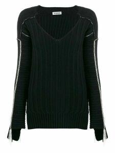 Jil Sander contrast detail ribbed knit jumper - Black