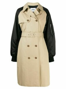 MSGM double-breasted trench coat with bomber sleeves - Neutrals
