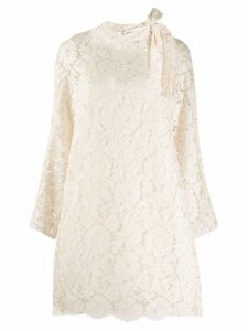 Valentino floral lace neck bow dress - White