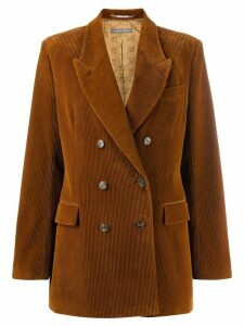 Alberta Ferretti corduroy double breasted blazer - Brown