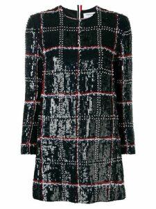 Thom Browne Silk Embroidered Mini Shift Dress - Blue