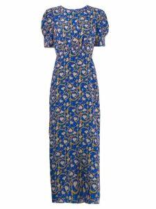 Saloni floral bud print dress - Blue