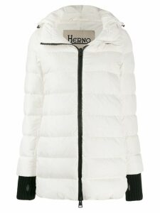 Herno ribbed trim puffer jacket - White