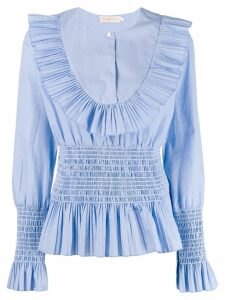 Tory Burch Smocket pleated top - Blue