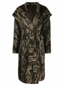 Tagliatore animal print coat - Brown
