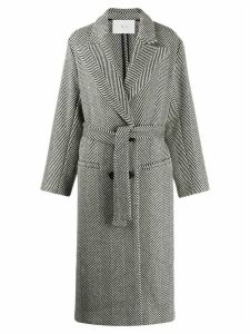 Tela Herringbone double-breasted coat - Black