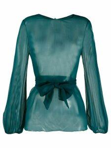 Gianluca Capannolo sheer long-sleeved blouse - Blue