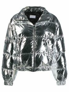 Chiara Ferragni metallic quilted coat - Silver