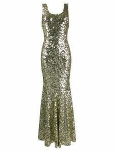 Dolce & Gabbana sequin embroidered long gown - Gold