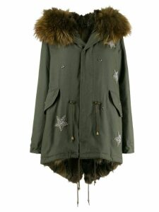 Furs66 star embroidered parka coat - Green