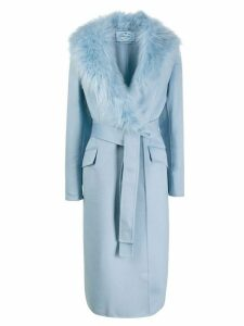Prada oversized collar mid-length coat - Blue
