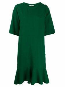 Odeeh pleated shift dress - Green