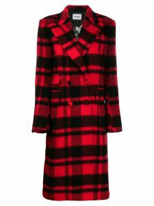 Brognano checked double-breasted coat - Red