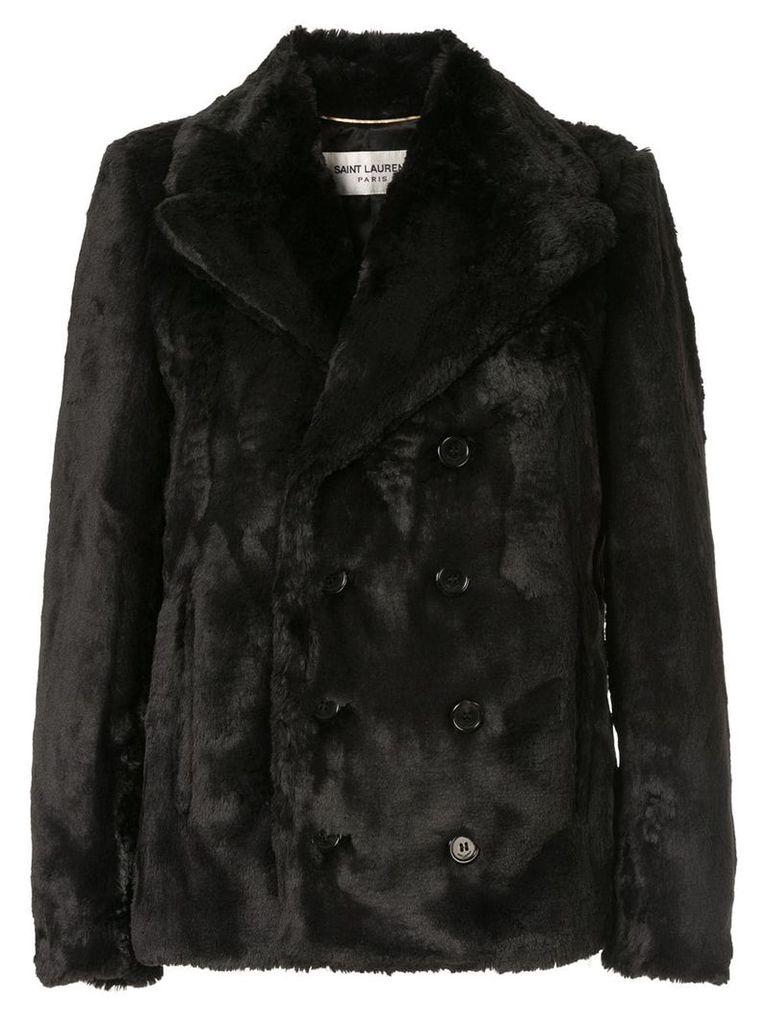 Saint Laurent faux fur coat - Black