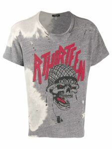 R13 bleach-effect graphic print T-shirt - Grey