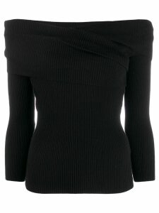 Paule Ka ribbed off-the-shoulder jumper - Black