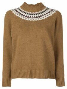 Sea printed knit jumper - Brown
