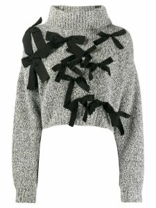 Brognano bow-embellished cropped jumper - Grey