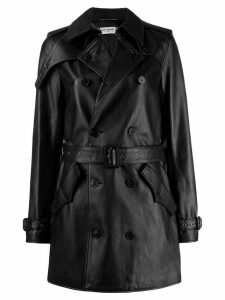 Saint Laurent double-breasted leather coat - Black