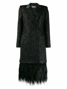 Just Cavalli double breasted fringe coat - Black