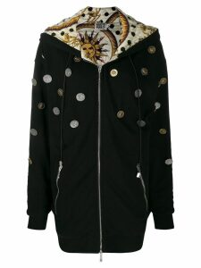Fausto Puglisi hooded coin coat - Black