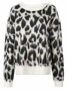 Designers Remix textured leopard print jumper - White
